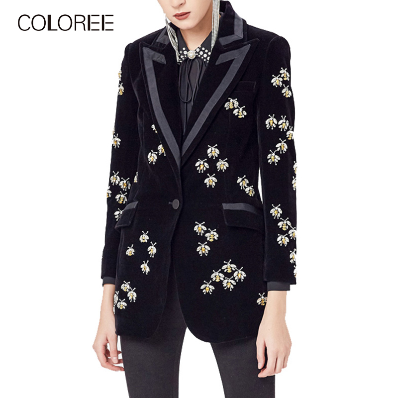 COLOREE 2019 New Fashion High Street  Women Luxury Black Velvet Blazers Suit Collar Animal Beading Blazer Coat High Quality