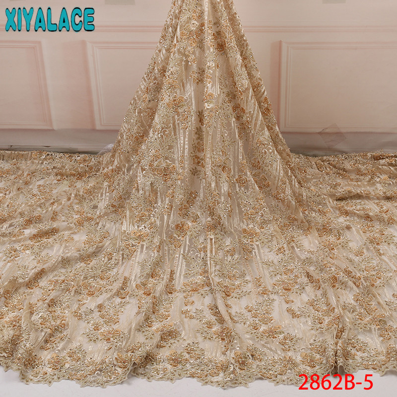 French  African Net Tulle Lace Fabric, Latest Hand Lace Embroidery Fabric,Sewing Heavy Fabric With Beads KS2862B-5