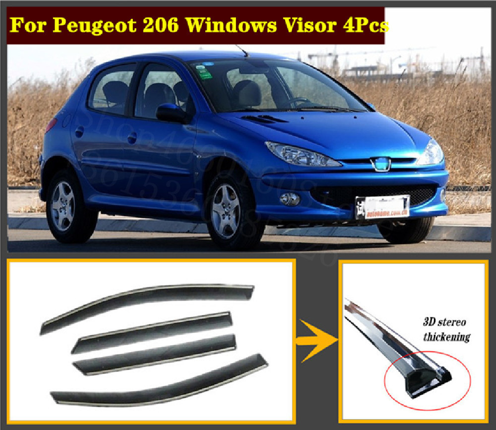 4pcs Set For Peugeot 206 2014-19 Stainless Steel Window Visor Shade Vent Wind Rain Deflector Guards Cover