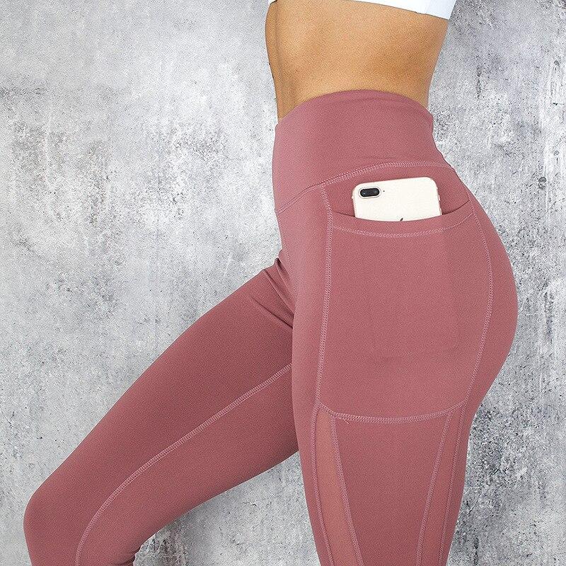 CHRLEISURE Pocket Leggings Women Mesh Splicing Casual Pants Solid Breathable Women High Waist Push Up Fitness Gym Leggings