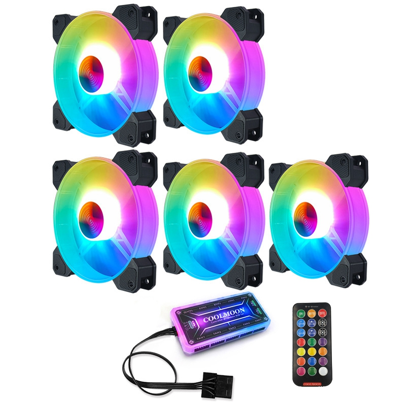 COOLMOON F-YH Computer Case PC Cooling Fan RGB Adjust 120mm Quiet + IR Remote New Computer Cooler RGB CPU Case Fan
