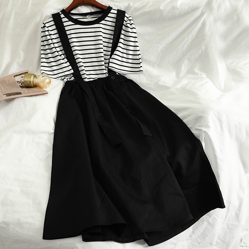 2020 Summer Women Casual 2 Piece Set Striped O Neck T Shirt Loose High Waist Tank Long Dress Female Basic Harajuku Sets Female
