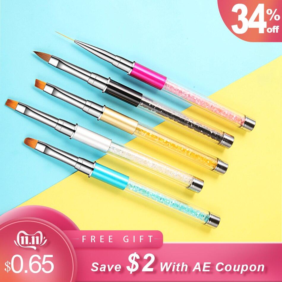 ROHWXY Nail Brush Rhinestone Handle Drawing UV Gel Pen Manicure Nail Art Brush Gradient Painting Pen Acrylic GEL Extension Pen