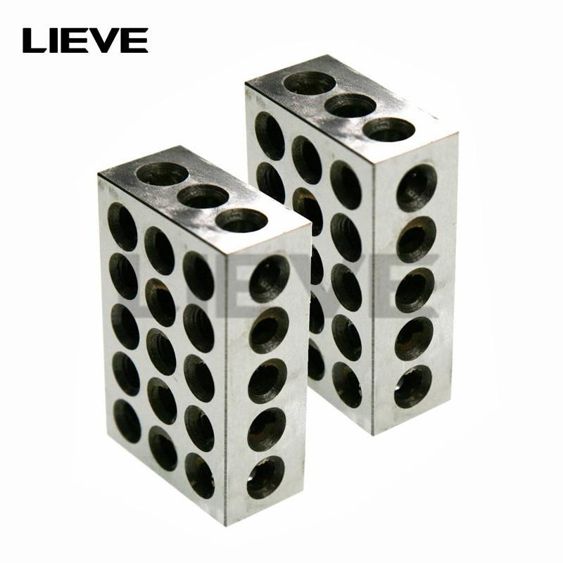 23 Holes Precision 25-50-75mm Blocks 1pair(2pcs), Parallel Clamping Block Set, Steel Block 23 Holes 1-2-3