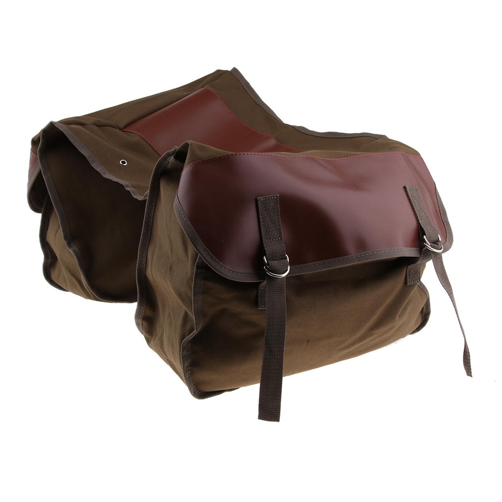 Brown Saddle Bag Panniers Bags for Motorcycle Mountain Bike, Large Capacity Saddlebags Tool Bag for Scooters