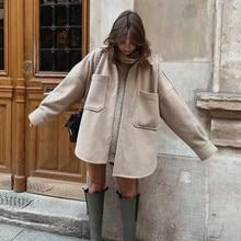 Woolen Shirt Coat Blouse Pocket Long-Outwear Camel Female PUWD Thick Autumn Casual Woman