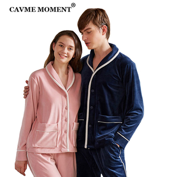 CAVME Flannel Pajama Sets for Lovers Warm Full Sleeve Sleepwear for Women Homme 2 Pieces Set PLUS SIZE Custom Logo