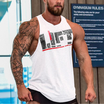 Men Gym Singlet Tank Tops Loose Breathable Bodybuilding Tops for Summer LXX9 8