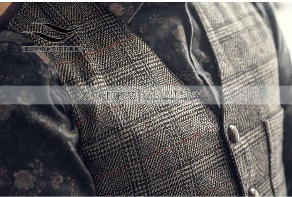 Vintage/Denim Wol Tweed Jas Heren Pak Vest Plaid Classic Heren V-hals Vest Vest Voor Bruiloft Bruidsjonkers gilet Homme