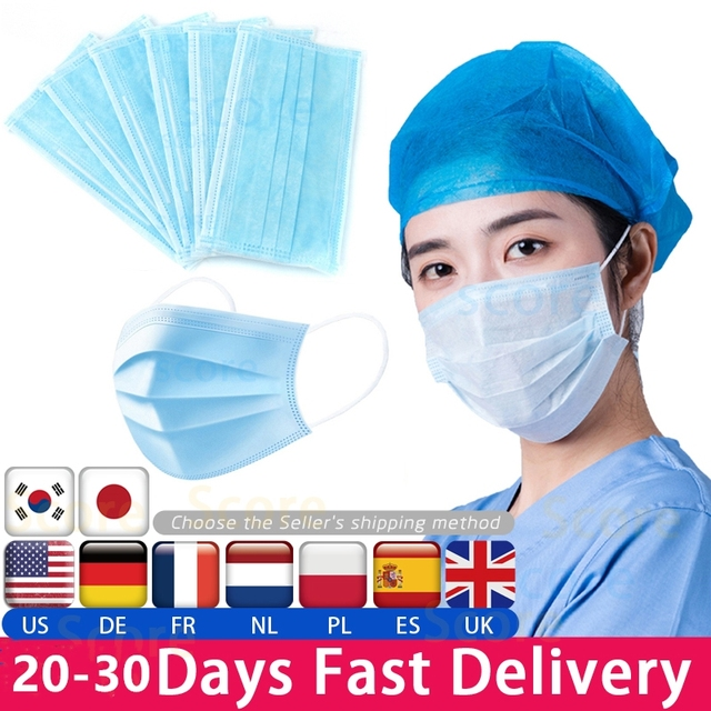50pcs Disposable Meltblown Dust Nonwove Blue 3 Layer Ply Anti-Flu Earloop Protective Mouth Face Medical Mask Filter