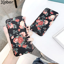 For Apple iPhone 11 Pro Xs Max XR X 8 7 6 6S Plus 5 5S SE 360 Degrees Full Body Protection Luxury Retro Flower Leaf Painted Case(China)