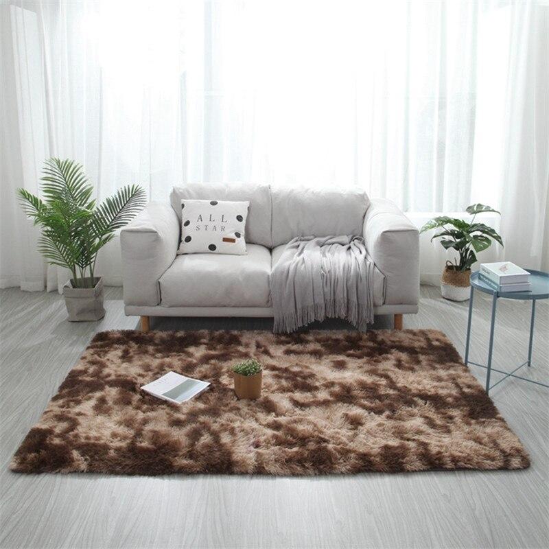 Tapis dégradé de teinture marbré salon Table basse tapis de sol épais dégradé couverture de peau douce cryptage tapis épais - 2