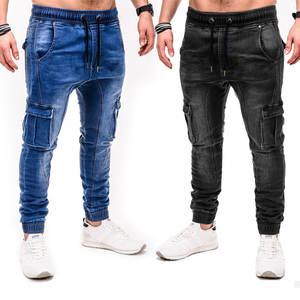 Jeans Business Blue Pants Denim Trousers Classic-Style Stretch-Fit Black Male Winter