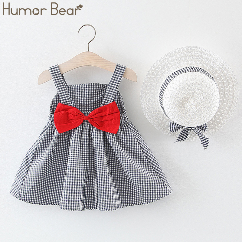 Humor Bear New Summer Baby Girl Dress Plaid Sling Princess Dress Hat As A Gift 2PC Set Baby Kids Clothing Toddler Girls Clothes