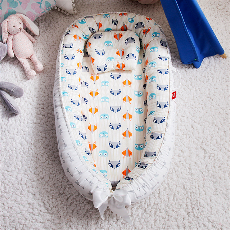 Portable Baby Nest With Pillow Cushion Newborn Bed For Travel Outdoor Bed Infant Crib Bumper