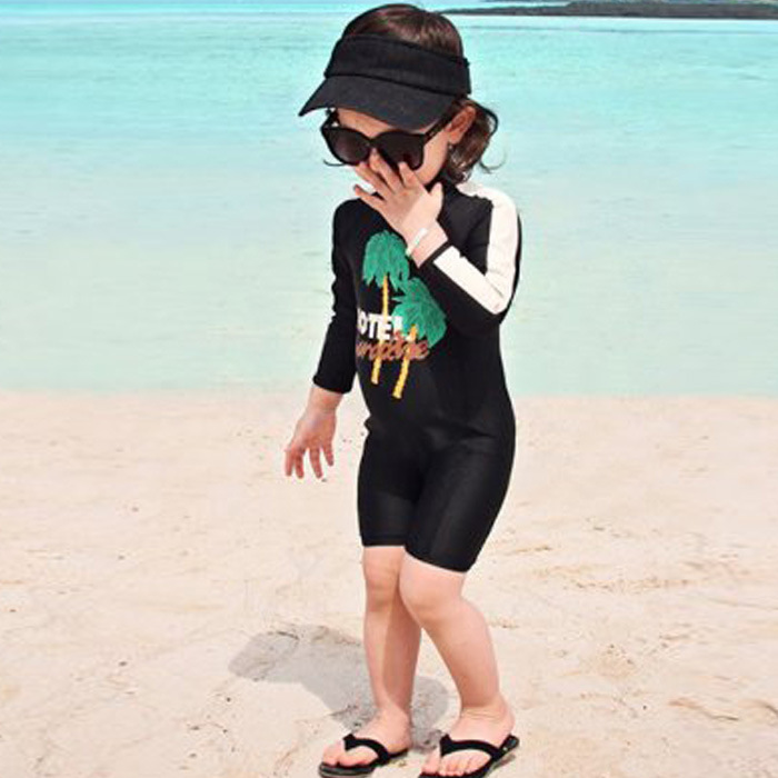 Haiyishan Bathing Suit Girls 2017 New Style With Swim Cap One-piece Boxer Shorts CHILDREN'S Swimsuit Long Sleeve Sun-resistant