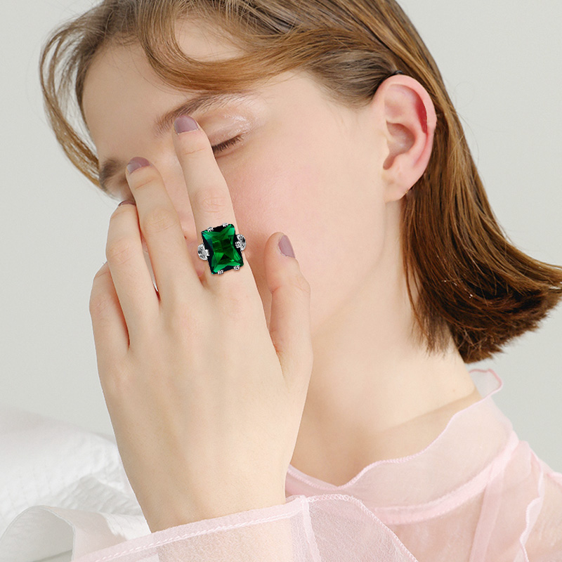 Image 2 - Szjinao Emerald Ring 4.8ct Green Vintage 925 Sterling Silver 