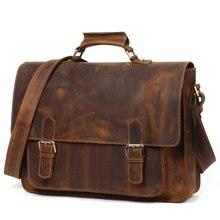 JOYIR-Bolso de negocios Retro para hombre, maletín de cuero de Caballo Loco, bolsos de hombro tipo bandolera para documentos A4, portátil