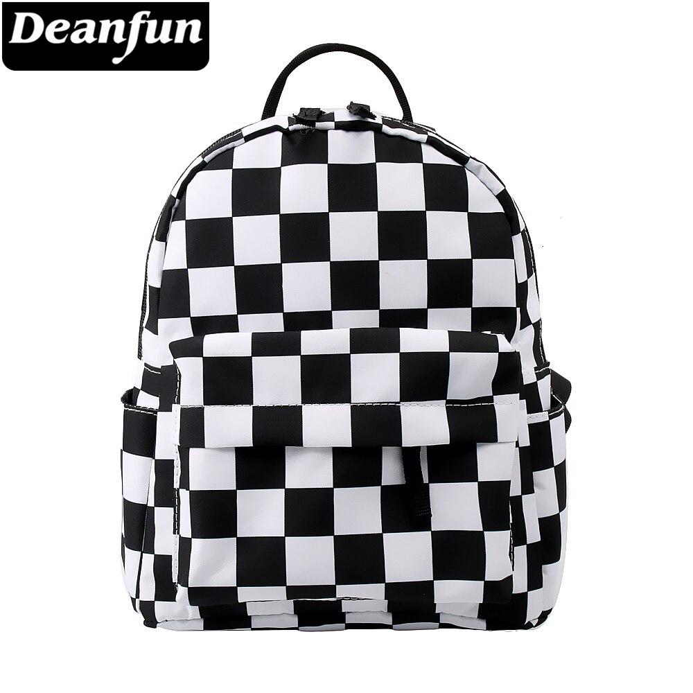 Deanfun Backpack Women Black And White Lattice Shoulder Bag Cute Travel Women Bag Mini Backpack DMNSB-8