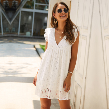 Solid Hollow Out  Short Dress Women New Sexy V Neck Butterfly Sleeve Lace Casual Loose Summer