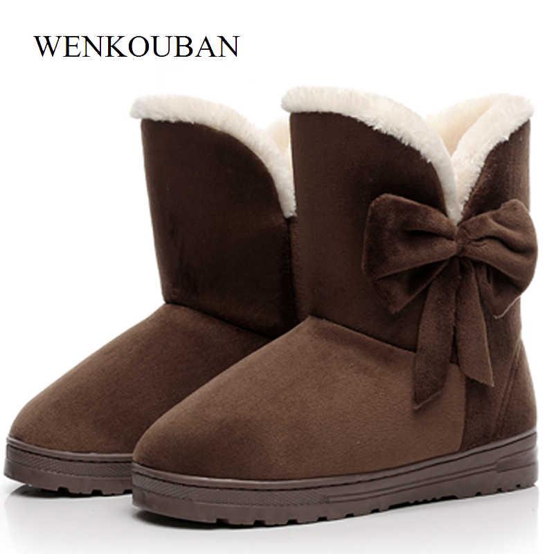 חורף מגפי נשים שלג מגפי נשים חורף נעלי נשים פלטפורמת פרפר מגפיים חם קרסול מגפי Bottes Femme 2019