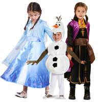 Impressão de cetim anna elsa 2 vestido meninas vestidos de princesa elza custome cosplay crianças festa de aniversário vestido de princesa para meninas vestidos