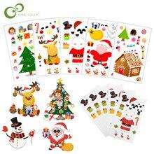 5/10 Pcs Diy Kerst Sticker Kerstman Witte Beer Herten Sneeuwpop Gezicht Sticker Xmas Party Supplies Klaslokaal Kids Activiteit Zxh