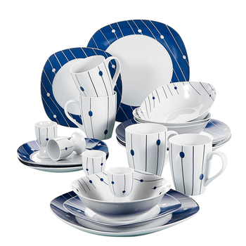 VEWEET DOT003 20-Piece Dinner Set Porcelain Ceramic Tableware Dinner Set with 4*Egg Cup,Mug,Bowl,Dessert Plate,Dinner Plate Set
