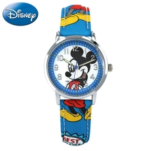 Mickey Minnie Child Leather Quartz Fashion Digital Disney Brand Watches Kids Car