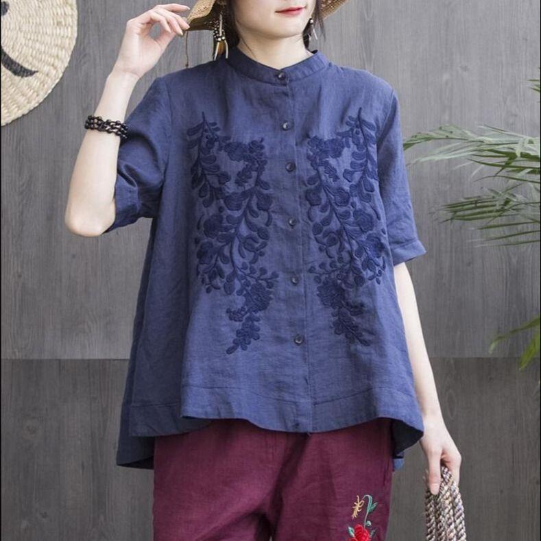 Women Fashion Elegant Casual Look Shirt Female Tops Cute Polka Dot Print Weekend Blouse Summer Single Breasted Shirt and Blouse 7