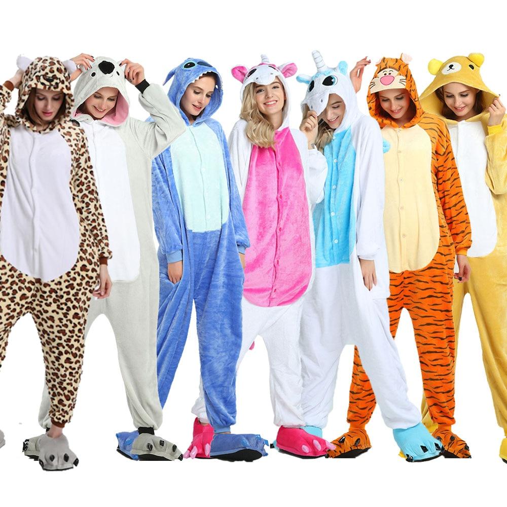 Women Kigurumi Unicorn Pajamas Winter Animal Panda Pajamas Set Flannel Sleepwear Pyjamas Onesies Whole One Piece Cosplay Costume