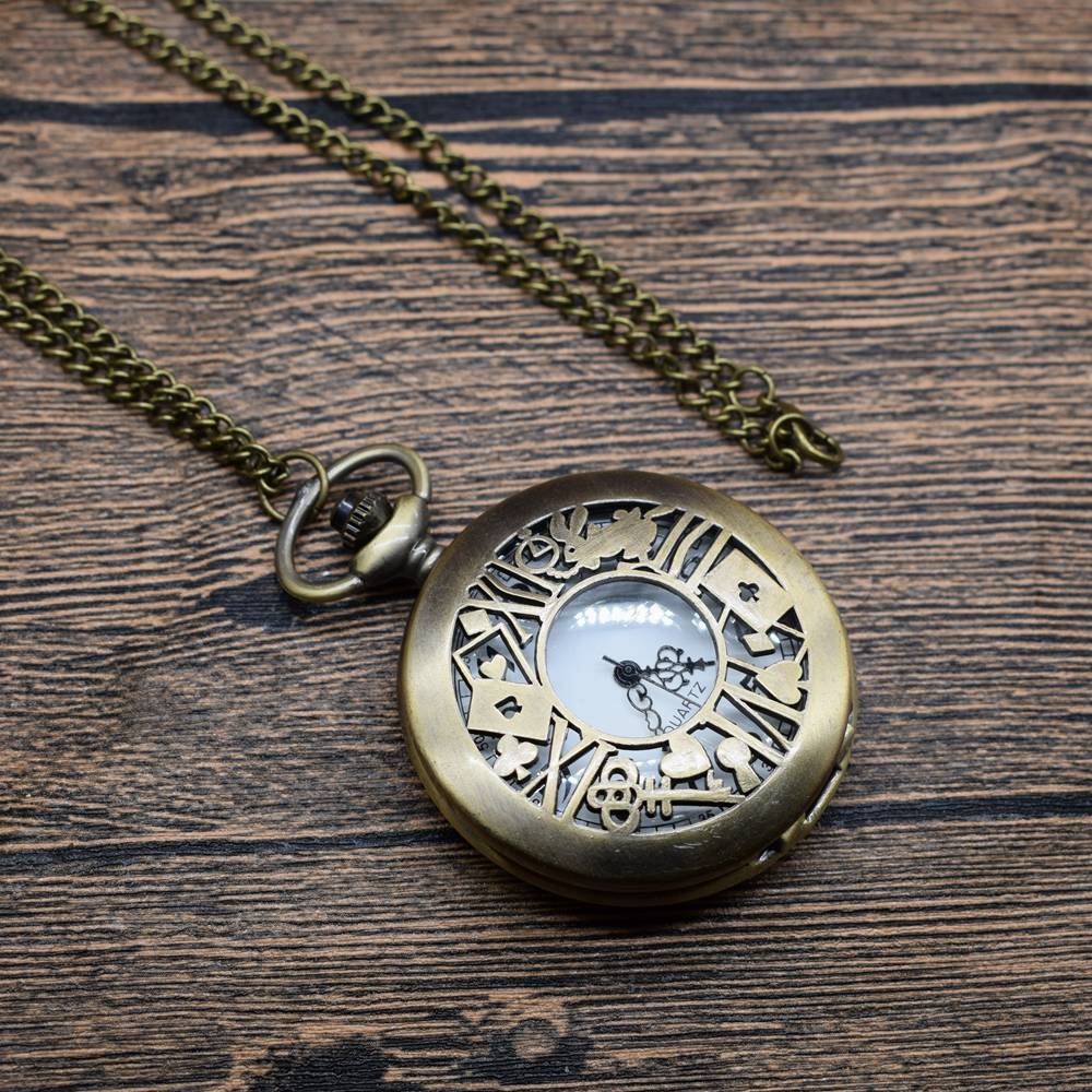 Pocket & Fob Watches Ailce in wonderland Rabbit Animal Quartz Pocket Watches Vintage Fob Watches  Gift for Men/Women