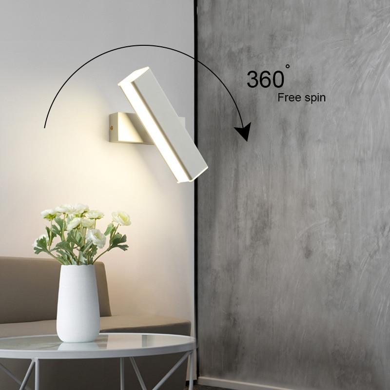 Feimefeiyou creative led wall lamp simple modern fashion bedroom corridor aisle wall bedroom bedside lamp adjustable angle Home Lighting Wall Lights 8ecdde6db90a376d7ab2a4: black large|black small|white large|white small