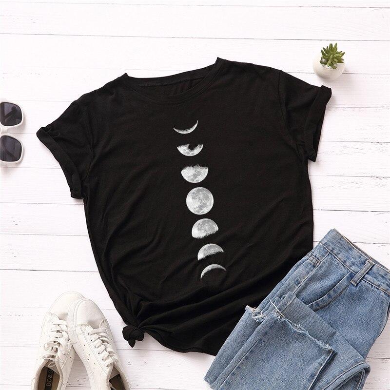 Plus Size S-5XL New Moon Planet Print   T     Shirt   Women   Shirts   100% Cotton O Neck Short Sleeve Summer   T  -  Shirt   Tops Casual Tshirt