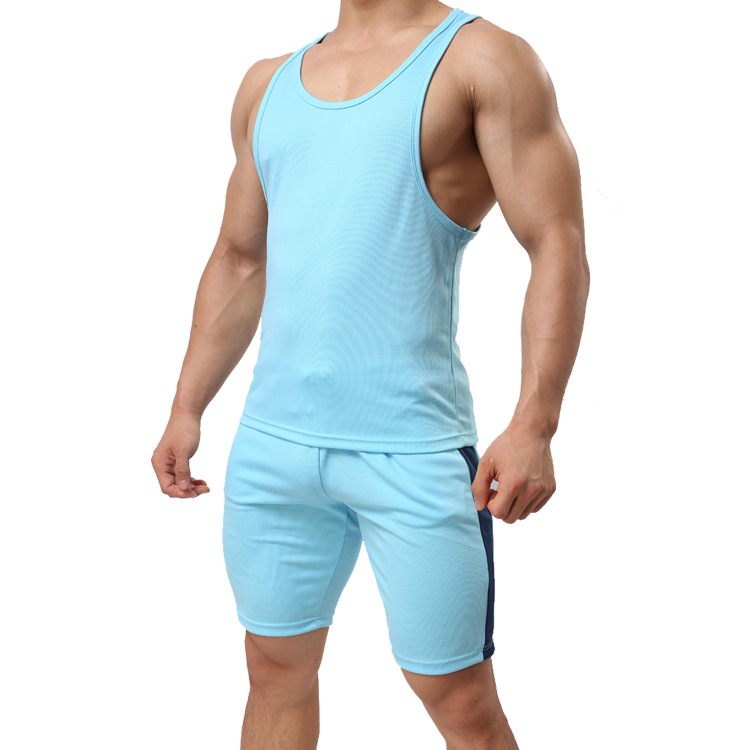 C712 Summer Sports Cotton Sleeveless Camisole Set Plus-sized Menswear Clothing Casual Fitness Running Vest Shorts Men's