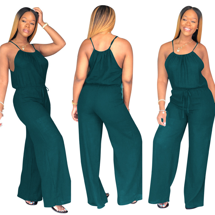 Women Sleevless Wide Leg Jumpsuit Pants Club Sexy Casual Loose Solid Playsuit Party Ladies Rompers