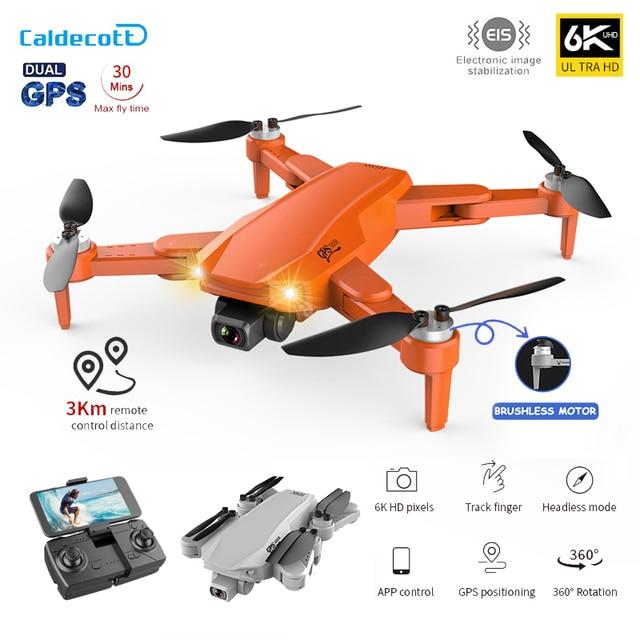 Profissional 6k hd câmera dupla fotografia aérea sem escova dobrável quadcopter rc distância 3km caldett s608 pro gps zangão 4k 1
