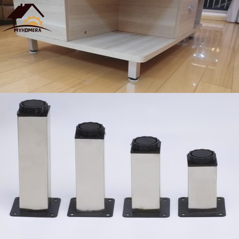 Myhomera 4Pcs Furniture Feet Leg Stainless Steel Adjustable Cabinet Sofa Legs 80-200mm Cupboard Coffee Tea Table Protective Foot