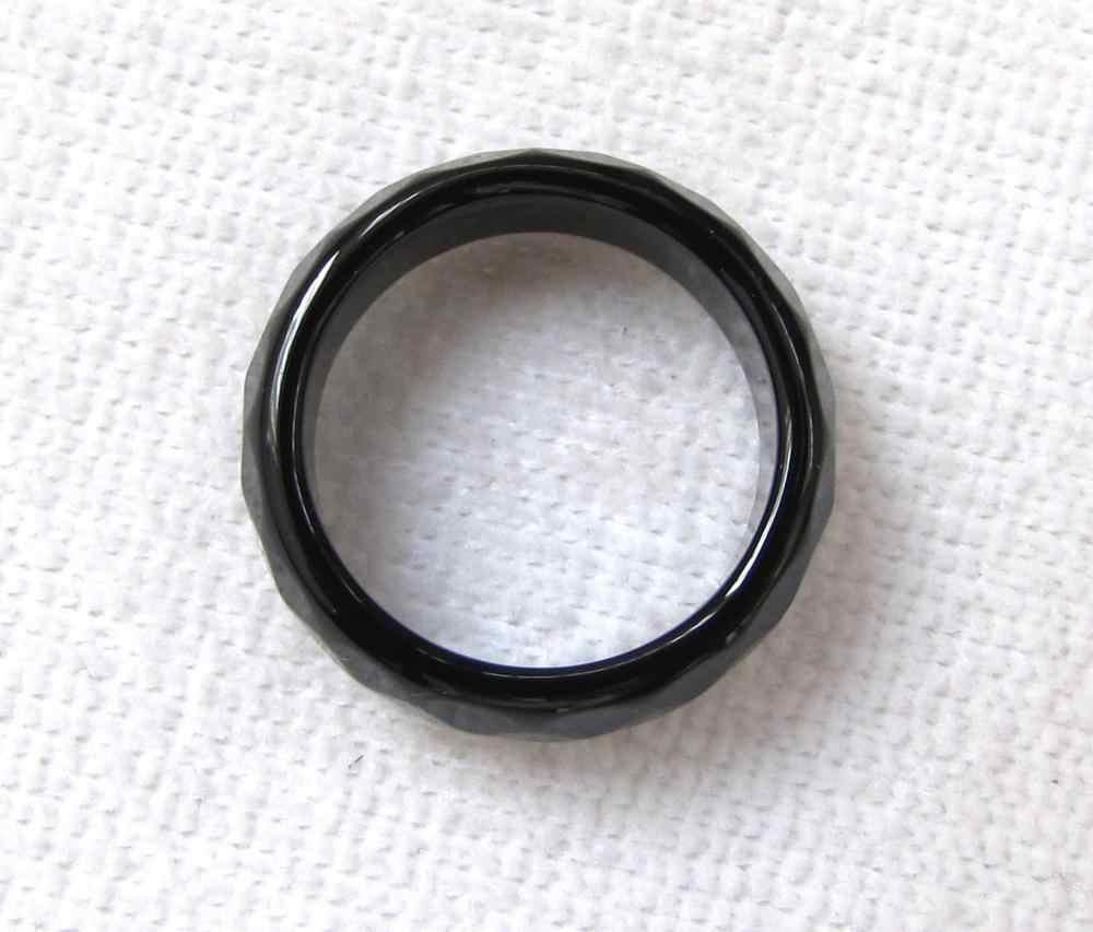 ขายใหม่สีดำธรรมชาติหินนิลมือแกะสลักวงแหวนขนาด 9.5-10.5 #