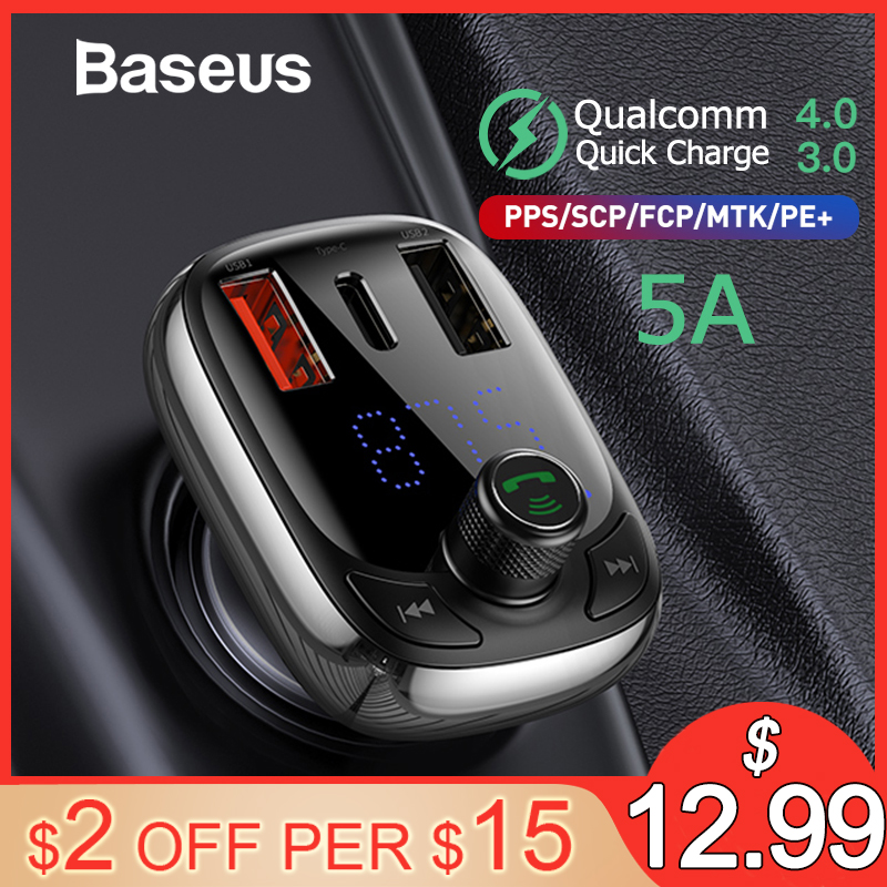 Baseus fm transmissor modulador bluetooth 5.0 kit carro handsfree áudio mp3 player com pps qc3.0 qc4.0 5a carro rápido carregador de automóvel