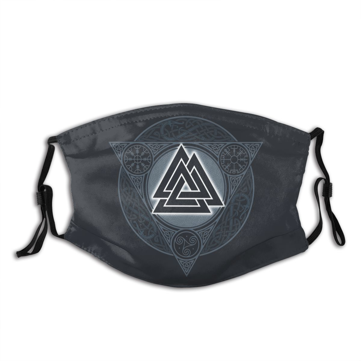 Valknut Ice Flame Vikings Valhalla Odin Reusable Mouth Face Mask With Filter Anti Haze Dust Mask Respirator Mouth Muffle