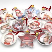 Clear Xmas Tree Hanging Transparent Picture Frame Ornament DIY Five-star Ball Christmas Holiday Party Valentine's Day Decor