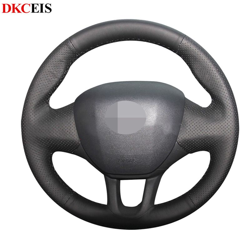 DIY Hand-stitched Black Soft PU Artificial Leather Car Steering Wheel Cover for Peugeot 2008 2013-2019 Peugeot 208 2011-2019 image