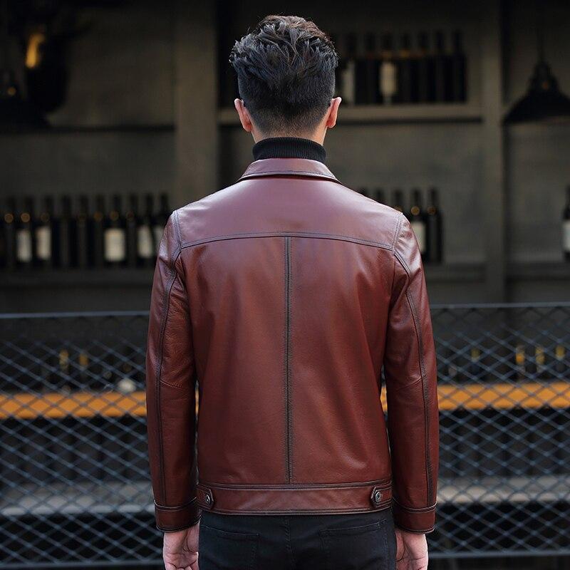 Genuine Cow Leather Jacket Men Short Autumn Coat Mens Leather Jacket Motorcycle Cowhide Coat ML-DAF88005 KJ1186