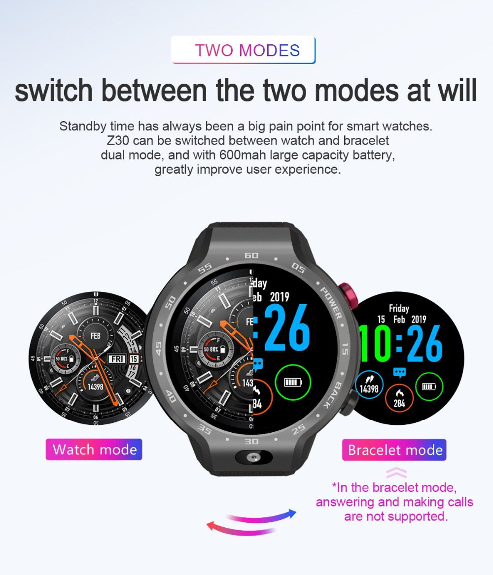 TORNTISC Z30 Dual Systems 4G Smart Watch phone Android 7.1 5MP Front Camera 600Mah Battery Support GPS WIFI Heart Rate Smartwatch PK LEM9 Presale (2)