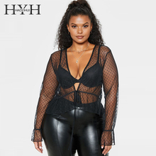 HYH haoyihui  New Arrival Autumn Plus Size Loose Deep V-neck Fashion Sexy Long Sleeve Mesh Look-though Polka Dot Tie Waist Shirt