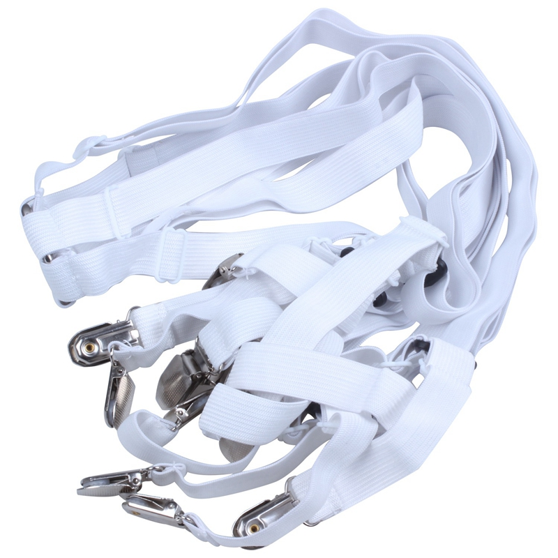 6-Sides-Sheet Suspenders Clips Grippers-Fasteners Elastic-Sheet-Holders 3-Way Fitte Straps-Adjustable