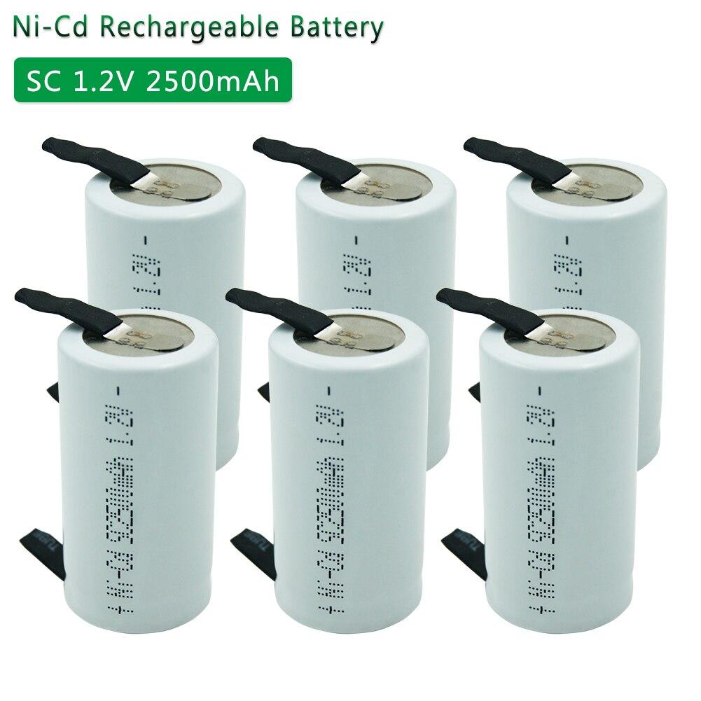 SC 1.2V 2500MAH NICD batterie rechargeable 4/5 SC Sub C ni-cd cellule avec onglets de soudage pour perceuse électrique tournevis capacité réelle