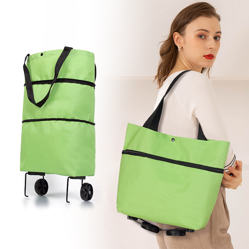 Ecofriendly Foldable Supermarket Shopping Bags With Wheels Oxford Portable Reusable Grocery Trolley Tote Heavy-Duty Capacity Bag