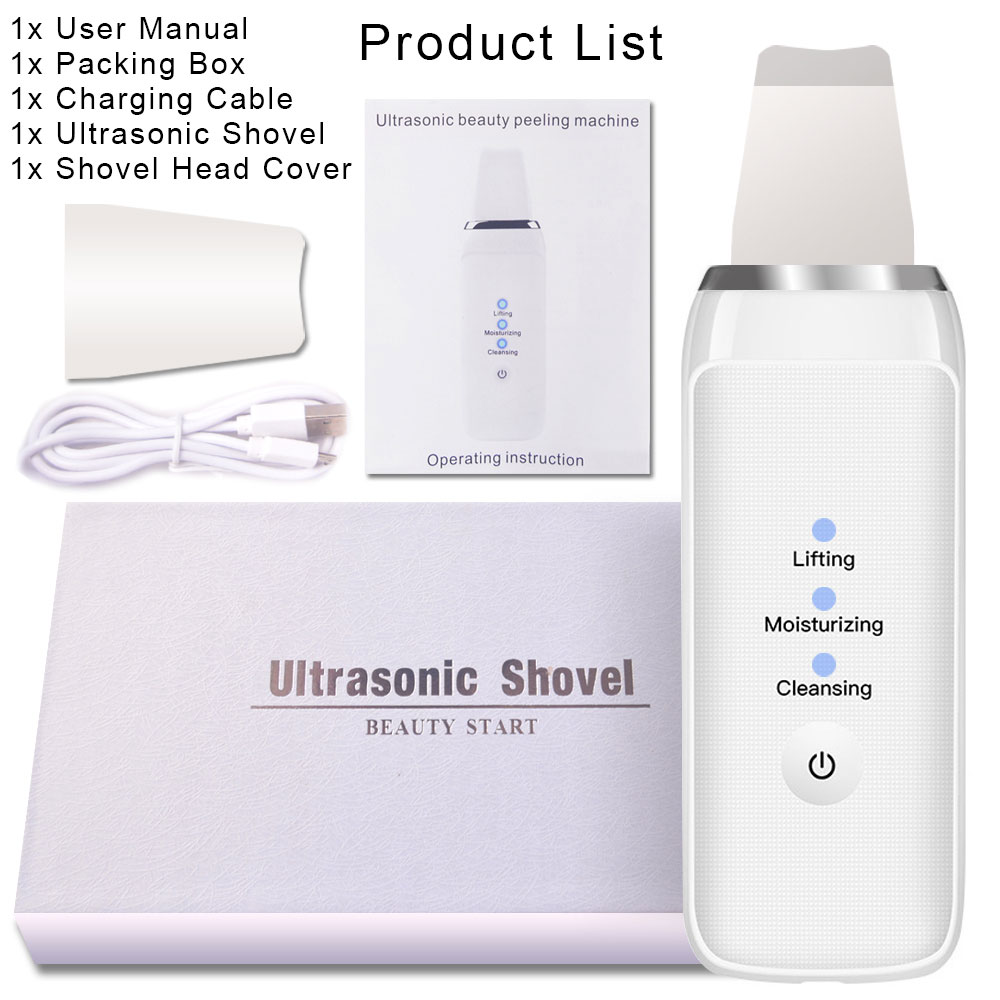 Ultrasonic Skin Scrubber Massager Machine Face Pore Cleaner Deeply Cleaning Device Remove Dirt Blackhead Facial Whiten Lifting